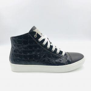 Crocodile leather & brown leather