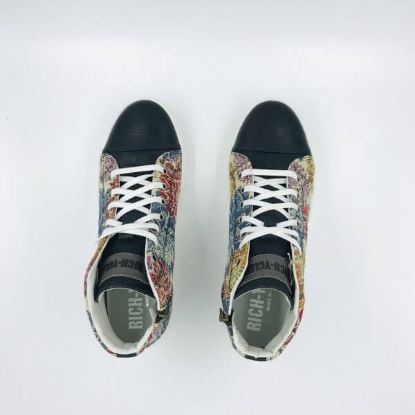 coco leather & floral gobelin