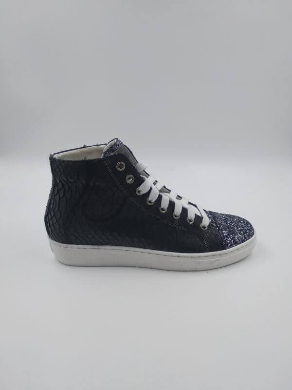 paillette leather and python